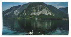 Three Lake Hallstatt Swans Beach Towel