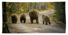 Three Little Bears And Mama Beach Towel