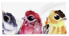 Beach Towel featuring the painting Three Little Birds by Dawn Derman