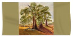 Three Live Oaks With Spanish Moss In A Florida Cow Pasture Beach Towel