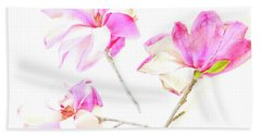 Three Magnolia Flowers Beach Sheet by Linde Townsend