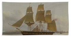 Three Masted Boat, In The Port Of Le Havre Beach Towel