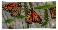 Three Monarch Butterfly Beach Towel