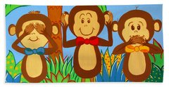 Three Monkeys No Evil Beach Sheet