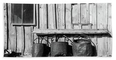 Three Old Buckets Beach Towel by Marius Sipa