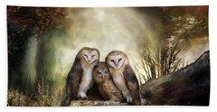 Three Owl Moon Beach Towel