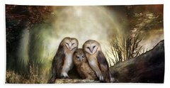 Three Owl Moon Beach Towel