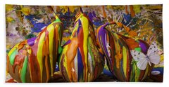 Three Painted Pears And Butterfly Beach Towel