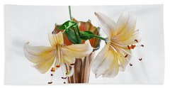 Three Pale Gold Lilies Still Life Beach Towel by Louise Kumpf