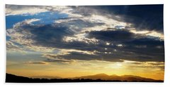 Three Peak Sunset Swirl Skyscape Beach Sheet