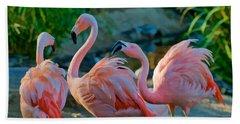 Three Pink Flamingos Strutting Their Stuff Beach Towel