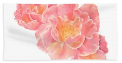 Three Pink Roses Beach Sheet
