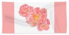 Three Pink Roses Beach Towel