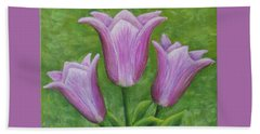 Beach Towel featuring the painting Three Pink Tulips by Nancy Nale