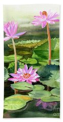 Three Pink Water Lilies With Pads Beach Towel