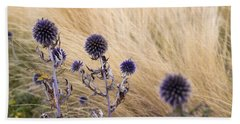 Three Purple Echinops Beach Towel by Helga Novelli