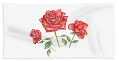 Beach Towel featuring the mixed media Three Red Roses by Elizabeth Lock