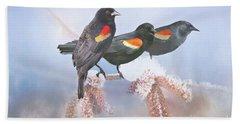 Three Red-winged Blackbirds In A Row Beach Sheet