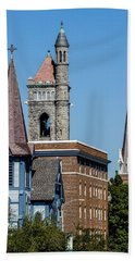 Three Steeples Of St Johnsbury Vermont Beach Sheet by Tim Kirchoff