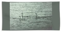 Beach Towel featuring the photograph Three Swans by The Art Of Marilyn Ridoutt-Greene