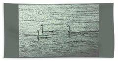Beach Sheet featuring the photograph Three Swans by The Art Of Marilyn Ridoutt-Greene