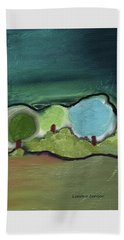 Beach Towel featuring the mixed media Three Trees - Triple Landscape by Lenore Senior