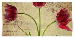 Three Tulips Letter Beach Towel