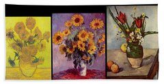 Three Vases Van Gogh - Cezanne Beach Towel by David Bridburg