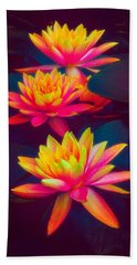 Beach Towel featuring the photograph Three Waterlilies by Chris Lord