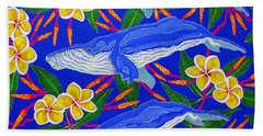 Beach Sheet featuring the painting Three Whales  by Debbie Chamberlin