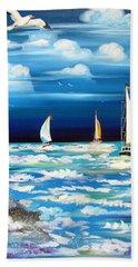 Three White Sails And A Seagull Beach Sheet