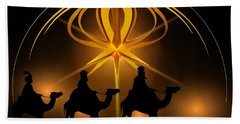 Three Wise Men Christmas Card Beach Towel by Bellesouth Studio