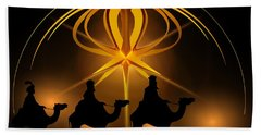 Three Wise Men Christmas Card Beach Towel