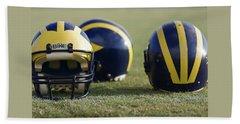 Three Wolverine Helmets Beach Sheet