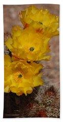 Three Yellow Cactus Flowers Beach Sheet