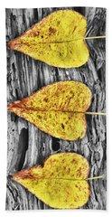 Three Yellow Leaves Beach Towel