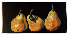 Three Yellow Pears Beach Sheet by Susan Duda