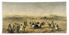 Threshing Wheat In Algeria Beach Towel