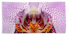 Throat Of An Orchid Beach Towel