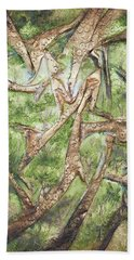 Beach Towel featuring the mixed media Through Lacy Branches by Angela Stout