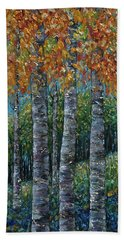 Through The Aspen Trees Diptych 2 Beach Towel