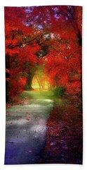 Through The Crimson Leaves To A Golden Beginning Beach Towel