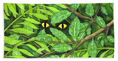 Beach Towel featuring the painting Through The Leaves by Kristen Fox