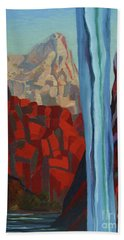 Beach Towel featuring the painting Through The Narrows, Zion by Erin Fickert-Rowland