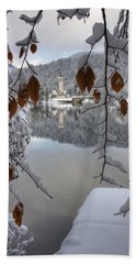 Beach Towel featuring the photograph Through The Snow Trees by Ian Middleton