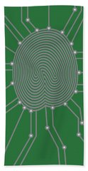Thumbprint With Circuit Board Illustration Beach Sheet