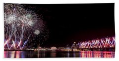 Beach Towel featuring the photograph Thunder Over Louisville by Andrea Silies