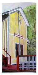 Beach Towel featuring the painting Thurmond Wv Train Station by Sandy McIntire