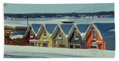 Winter View Ti Park Boathouses Beach Towel