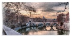 Beach Towel featuring the photograph Tiber - Aquarelle by Sergey Simanovsky